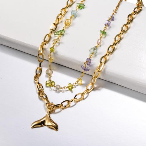 Collar de cola de pez de sirena de acero inoxidable en capas con cuentas de piedras preciosas