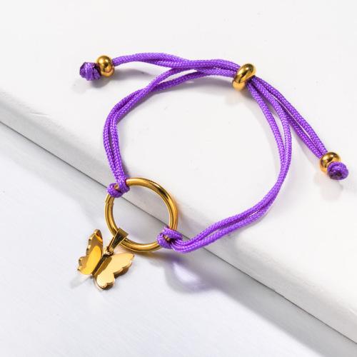 Cord Handmade Purple Butterfly Bracelets