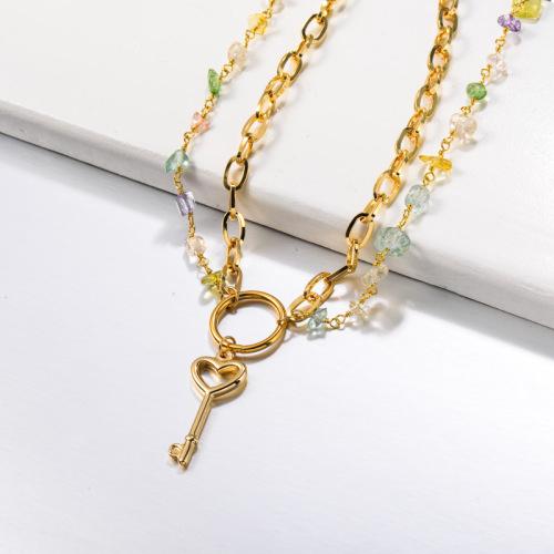 Gemstone Beaded Stainless Steel Key Necklace