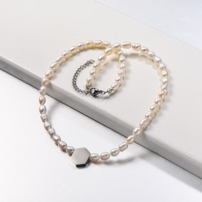 Fresh Water Pearl with Steel Charm Beaded Necklace