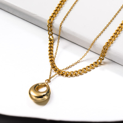 Stainless Steel Double layered Drop Pendant Necklace