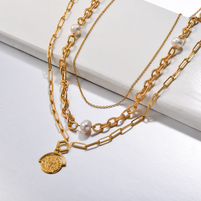 Stainless Steel Multi Layered Coin Pendant Necklace