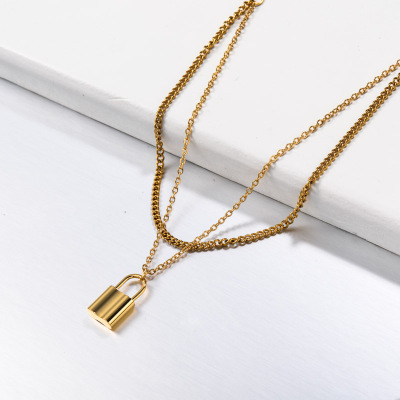 Stainless Steel Double Layered Lock Pendant Necklace