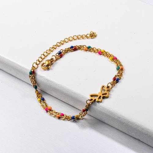 Multi Color Beaded Butterfly Bracelets