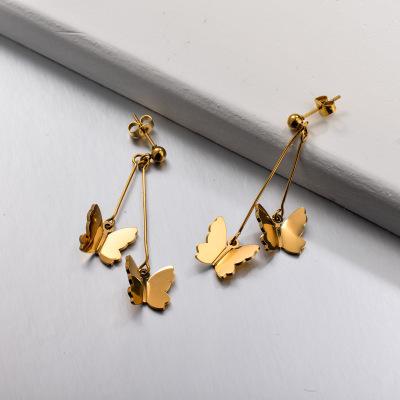 Stainless Steel Butterfly Drop Earrings