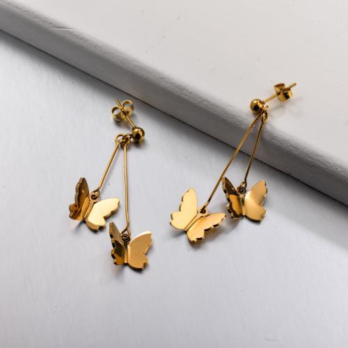 Pendientes colgantes de mariposa de acero inoxidable