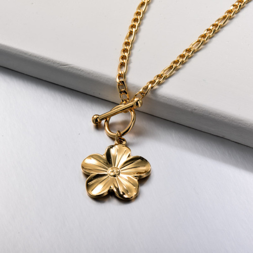 Stainless Steel Toggle Floewr Pendant Necklace