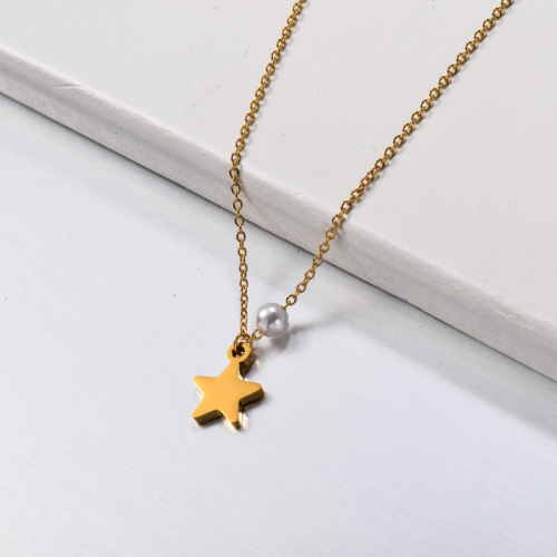 Stainless Steel Pearl Star Necklace