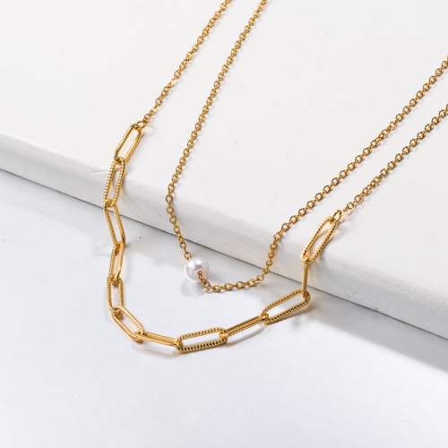 Stainless Steel Herra Pearl Layered Necklace