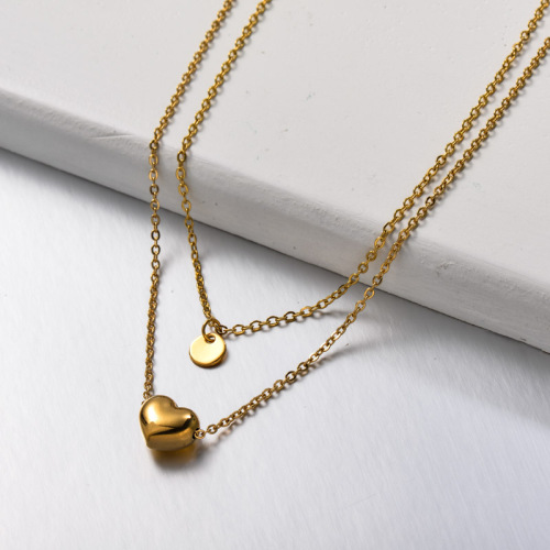 Stainless Steel Heart Layered Necklace