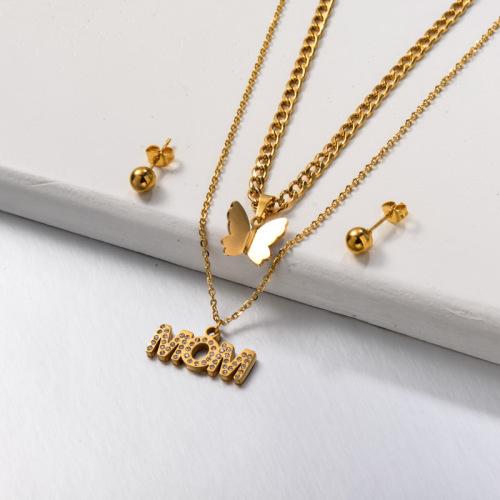 Conjuntos de joyas de mamá de mariposa de doble capa de acero inoxidable