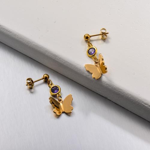 Pendientes colgantes de mariposa con circonita de acero inoxidable
