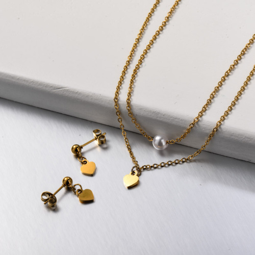Stainless Steel Heart Double Layered Necklace Jewelry Sets