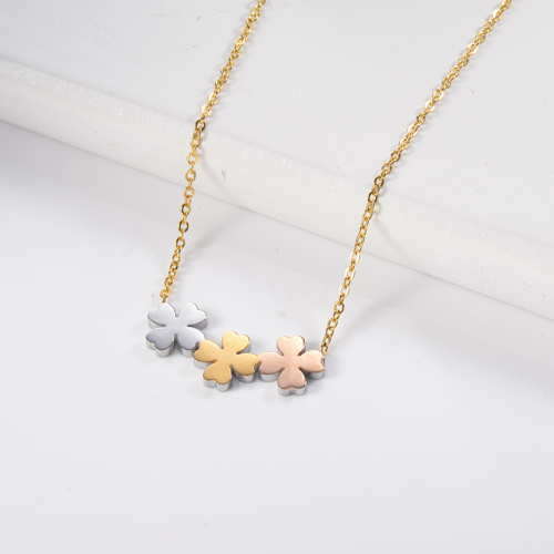 Elegant Three colors Clover Charm Necklace For Women