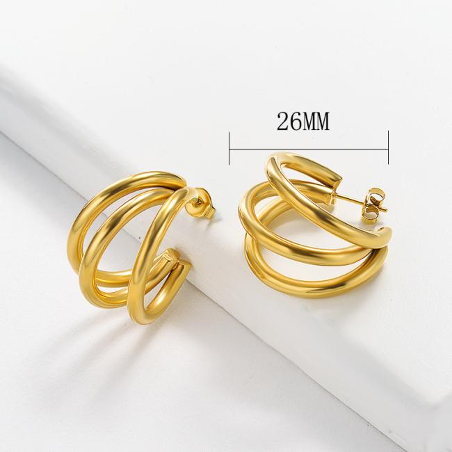 Stainless Steel Hoop Earrings -SSEGG143-15897-G