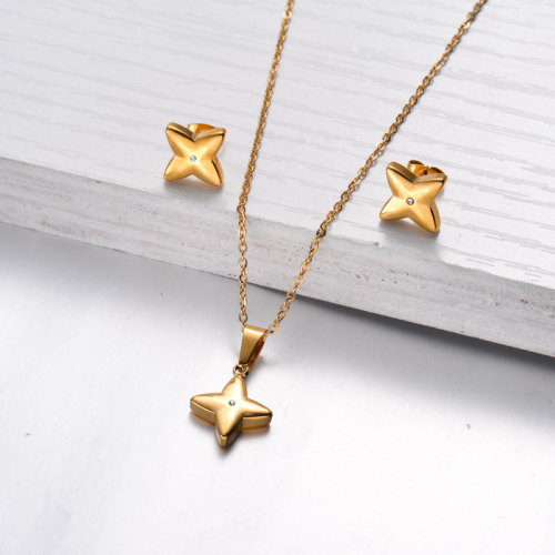 18k Gold Plated Flower Necklace Earrings Jewlery Sets -SSCSG143-32475