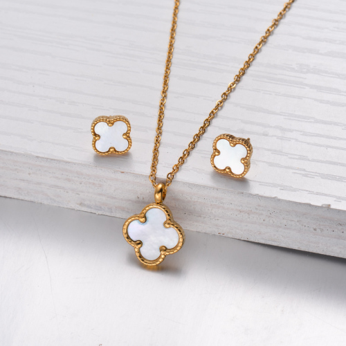 18k Gold Plated Clover Mother Pearl Necklace Earrings Jewelry Sets -SSCSG143-32470