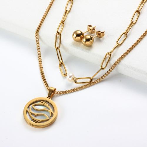 Conjuntos de collar de múltiples capas con colgante de madreperla del zodiaco chapado en oro de 18k -SSCSG142-31957