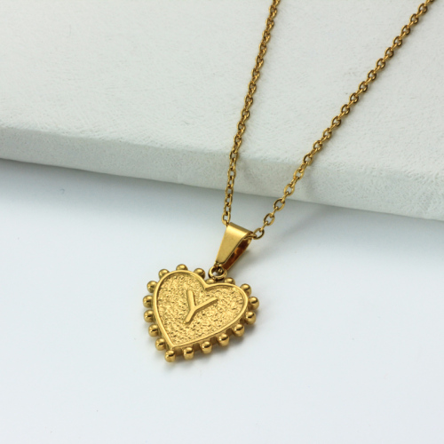 18k Gold Plated Personalized Heart Initial Letter Necklace SSNEG143-32434