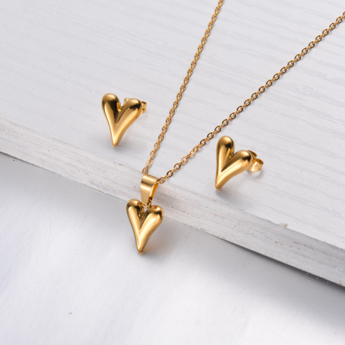18k Gold Plated Heart Necklace Earrings Sets -SSCSG143-32465