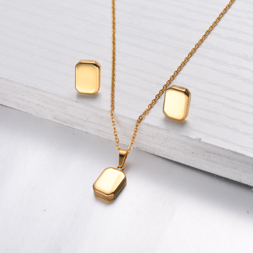 18k Gold Plated Rectangular Necklace Earrings Jewlery Sets -SSCSG143-32473