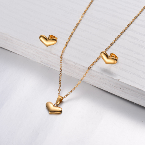 18k Gold Plated Heart Necklace Earrings Sets -SSCSG143-32464