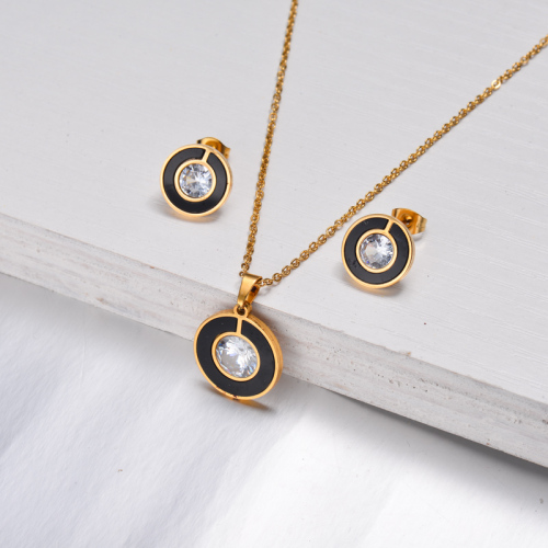 Conjuntos de joyas de circón con números romanos de acero inoxidable-SSCSG143-32609