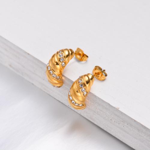 Boucles d'oreilles créoles en cristal plaqué or 18 carats - SSEGG143-32505
