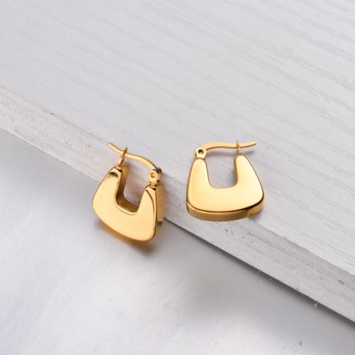18K Gold Plated Hoop Earrings Huggies -SSEGG143-32483