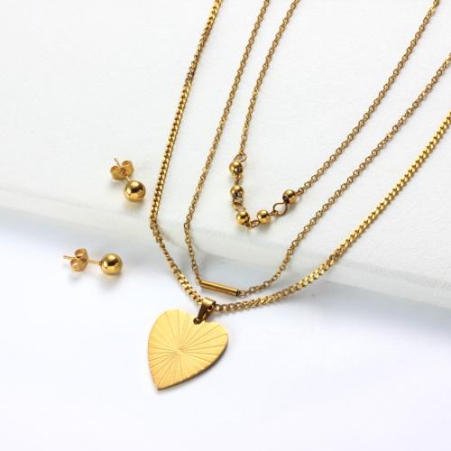 Conjuntos de Collar con Capas de Corazón Chapado en Oro de 18k -SSCSG142-31970