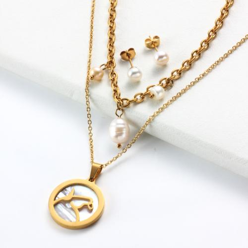 Conjuntos de collar de múltiples capas con colgante de madreperla del zodiaco chapado en oro de 18k -SSCSG142-31960