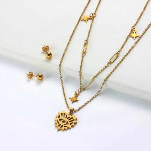 Conjuntos de Collar con Capas de Corazón Chapado en Oro de 18k -SSCSG142-31971