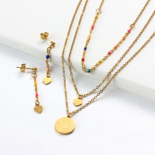 Conjuntos de collar en capas con dije de corazón de sonrisa de acero inoxidable -SSCSG142-31964