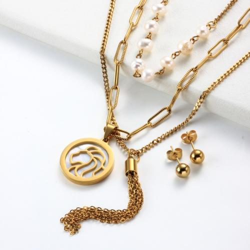 Conjuntos de collar de múltiples capas con colgante de madreperla del zodiaco chapado en oro de 18k -SSCSG142-31975