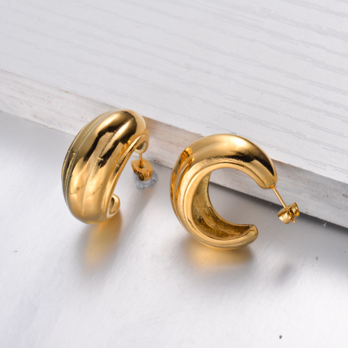 18K Gold Plated French Style Hoop Earrings -SSEGG143-32485