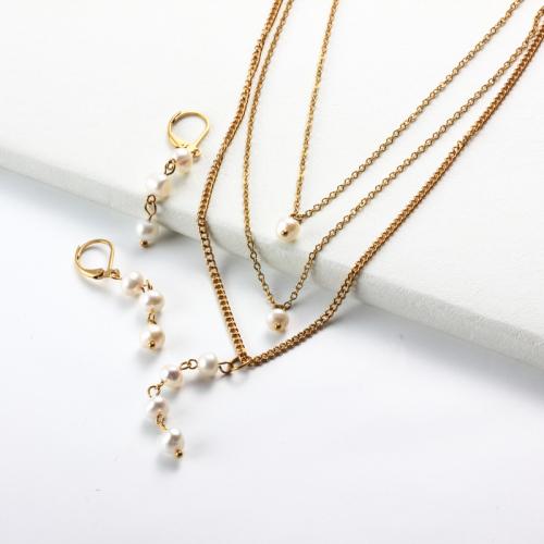 Conjuntos de Collar de Perlas Chapadas en Oro de 18k -SSCSG142-31955