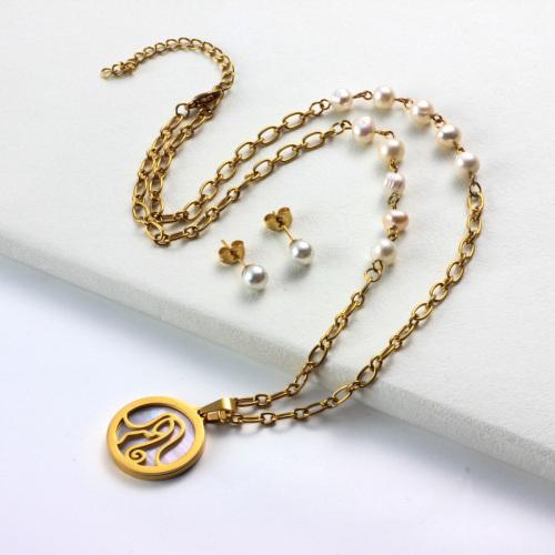 Conjuntos de collar con colgante de madreperla del zodiaco chapado en oro de 18k -SSCSG142-31968