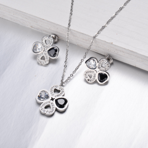 Conjuntos de Joyas de Cristal de Trébol de Acero Inoxidable -SSCSG143-10285