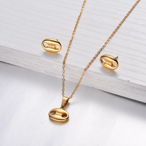 18k Gold Plated Botton Necklace Earrings Sets -SSCSG143-32476