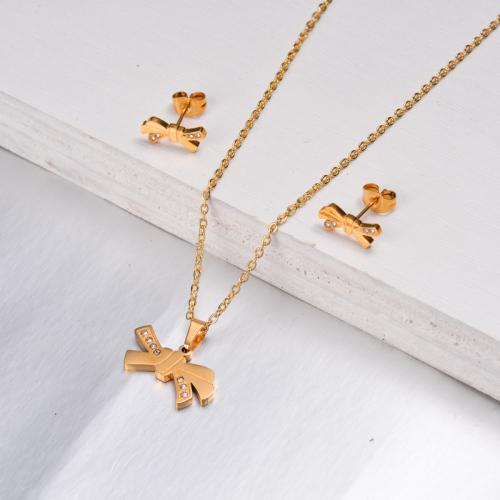 Conjuntos de Joyas con Cinta Chapada en Oro de 18 Quilates -SSCSG143-11083