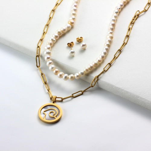 Conjuntos de collar de múltiples capas con colgante de madreperla del zodiaco chapado en oro de 18k -SSCSG142-31959