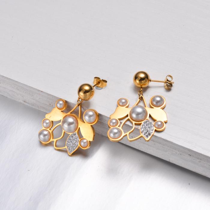 Boucles D'oreilles Pendantes Feuille De Perle Plaqué Or 18 Carats -SSNEG142-32534