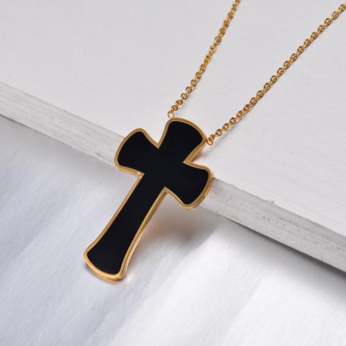 Collar Gran Cruz Bañado en Oro 18K -SSNEG143-32611