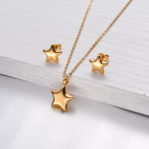 18k Gold Plated Star Necklace Earrings Sets -SSCSG143-32477