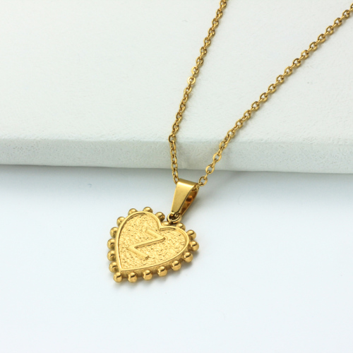 18k Gold Plated Personalized Heart Initial Letter Necklace SSNEG143-32435