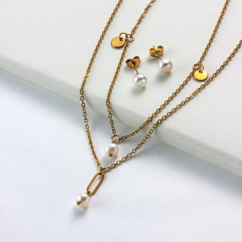 Conjuntos de Collar de Perlas Chapados en Oro de 18k -SSCSG142-31953