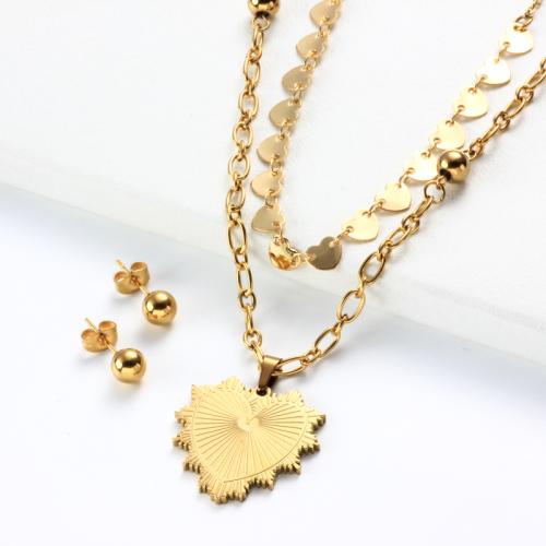 Conjuntos de Collar con Capas de Corazón Chapado en Oro de 18k -SSCSG142-31962