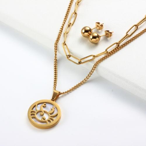 Conjuntos de collar de múltiples capas con colgante de madreperla del zodiaco chapado en oro de 18k -SSCSG142-31958