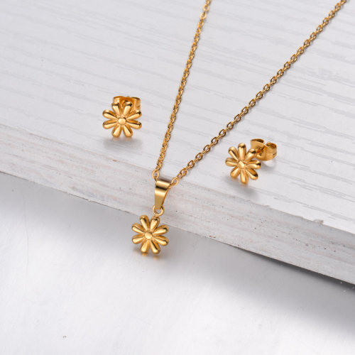 18k Gold Plated Flower Necklace Earrings Jewlery Sets -SSCSG143-32474