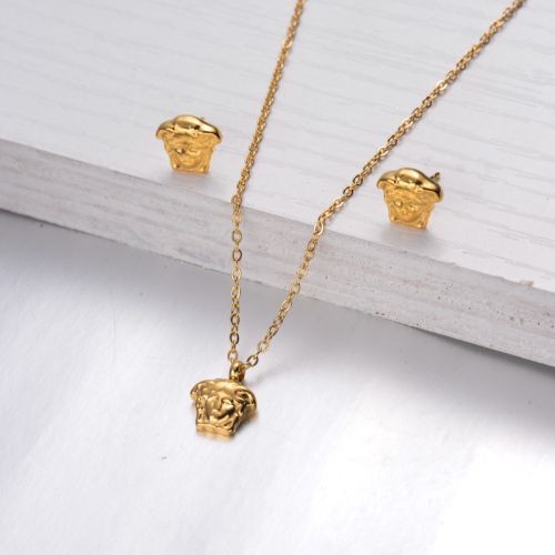 18k Gold Plated Portrait Necklace Earrings Sets -SSCSG143-32469